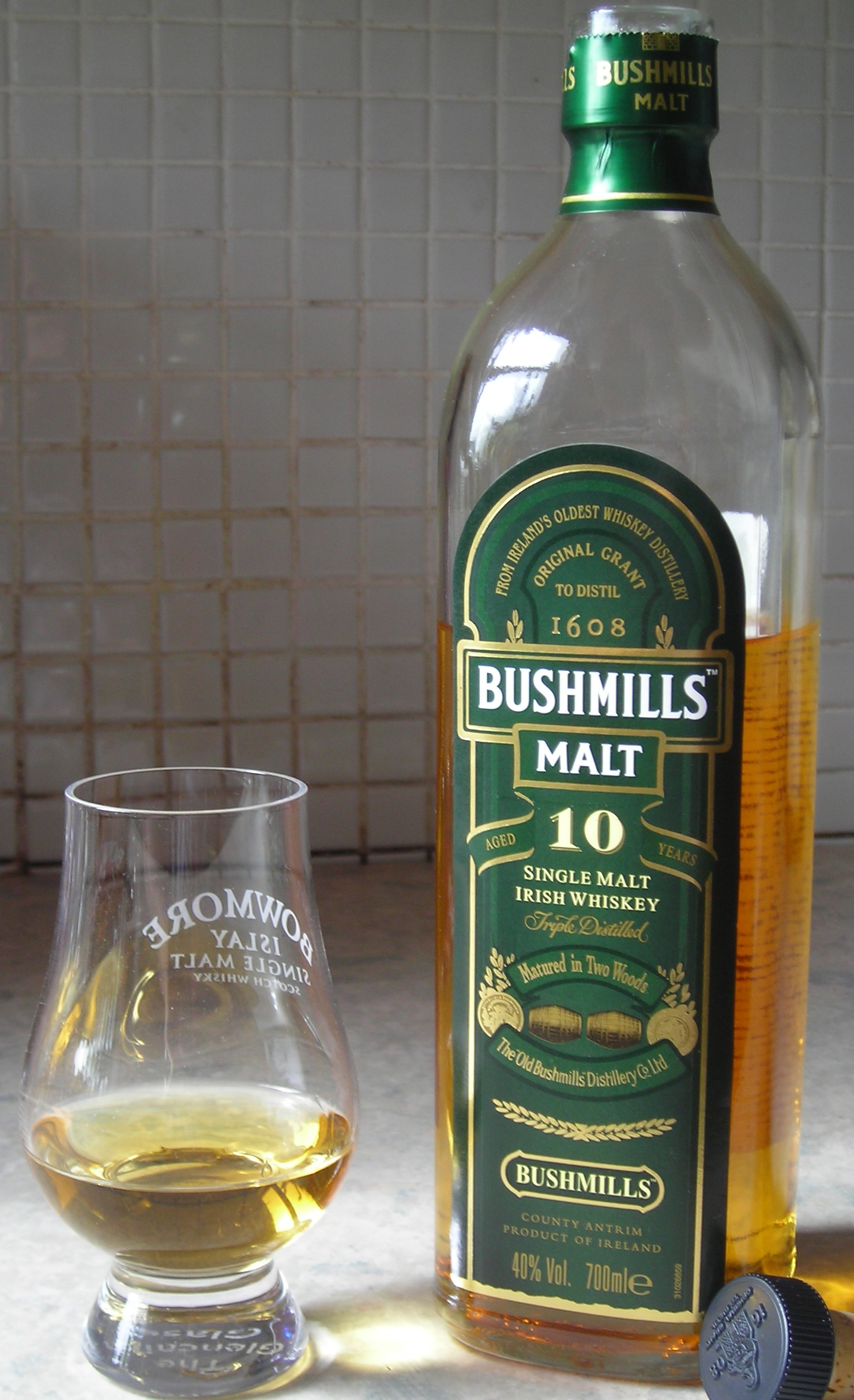 Bushmills 10 Year Old bottle and glass